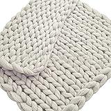 Zhichu Chunky Knit Wurf Weiche Gestrickte Wolldecke Dickes Garn Sperrige Strickdecke Für Bett Stuhl Sofa Yoga Mat Winter 15.75 23.62 in