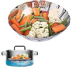 Cesta Vaporera, Etpark verduras Vaporera cesta Plegable Acero Inoxidable Bandeja para Cocina al Vapor Apto para Diversos Tamaños de Ollas