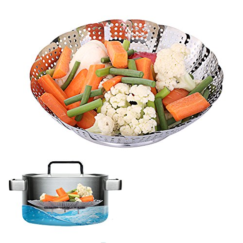 Basket for Vegetables, Etpark Foldable Basket Steamer Insert Multifunctional Folding Steamer Basket in Stainless Steel Steamed Cookware for Cooking Vegetables and Food