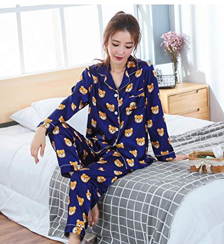 LSJSN Schlafanzug Männer Und Frauen Mode Frühling Herbst Pyjamas Set Langhülse Cartoon Homewear Paare His-and-Hers Kleidung XXL_A1