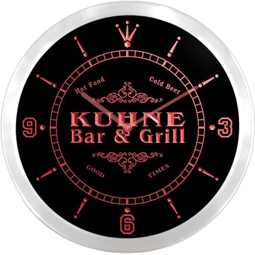 ncu24675-r-kuhne-family-name-bar-grill-cold-beer-neon-sign-led-wall-clock