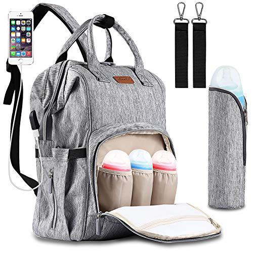 Baby Wickelrucksack Wickeltasche mit Wickelunterlage Oxford Große Kapazität Babyrucksack mit USB-Lade Port Babytasche Kein Formaldehyd Reiserucksack mit 2 Kinderwagen haken für Unterwegs (Grau)