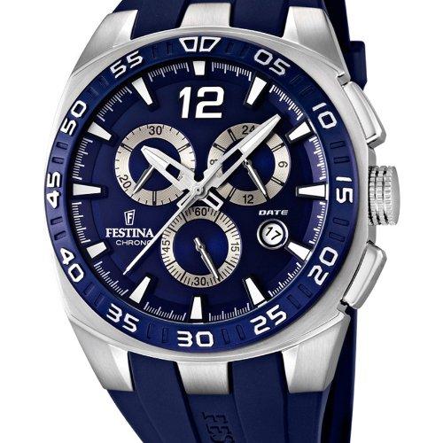 Festina Men's Quartz Watch with Blue Dial Chronograph Display and Blue PU Strap F16668/2