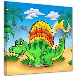 """Bilderdepot24 Cuadros en Lienzo """"Pequeño dinosaurio"""" 20x20 cm - Enmarcado listo Bastidor imagen. directamente desde el fabricante"""