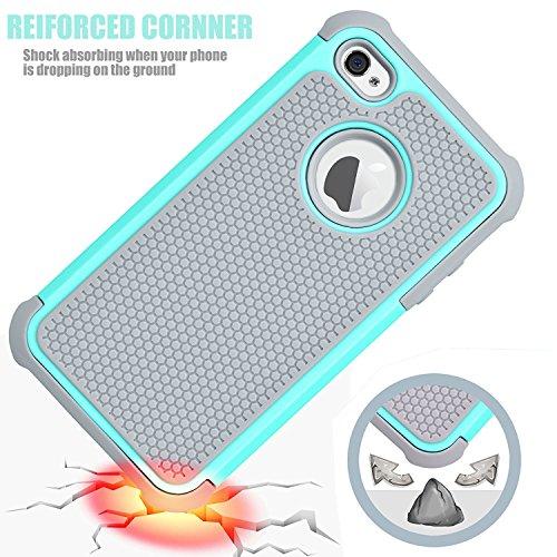 iPhone 4 Hülle, Stoßfest Handy Schutzhülle Stoßgedämpfter Extraharte Tasche Silikon Gel Hybrid Armor Cover Case Etui fürSamsung iPhone 4 S - Grun Blau