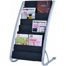 Alba - Expositor de revistas de 8 niveles, color negro