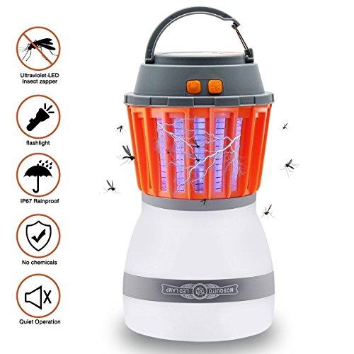 Tianhaixing mosquito zapper lanterna da campeggio tenda luce, antizanzare e ip67 impermeabile, ricaricabile tramite usb e anti insetti repellente per insetti gancio a scomparsa per interni e esterni