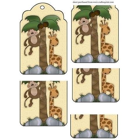 Scimmia e Giraffa Tag Topper da Sharon Poore - Giraffe Scimmia