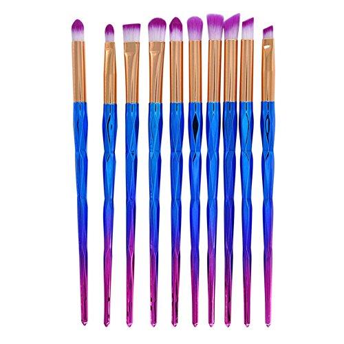 Gespout 10PCS Pinceau de Maquillage Professionnel pour Yeux Bleu Nylon Poignée en Plastique Fond de Teint Poudre Blush Différents Styles