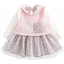 Jimmackey Baby Bambine Tasche Stampa Abito Net Filato Tutu Patchwork Principessa Volant Vestito