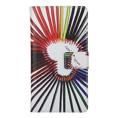 Custodia Huawei P9 Cover,TYoungs Wallet Case a Portafoglio con Taschini per Carte di Credito, Esclusivo Artificiale PU Pelle Magnetica Cassa del Raccoglitore per Smartphone Huawei P9 - Calore
