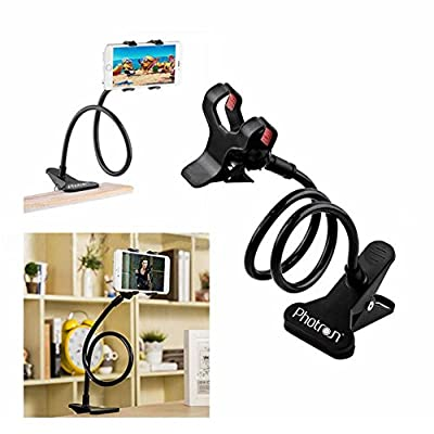 Photron PHMH50 Universal Flexible Portable Foldable 360 Degree Mobile Phone Smartphone Holder Stand for Car Office Home Bed Desk Table for Apple iPhone Samsung Moto Redmi OnePlus Lenovo, Black
