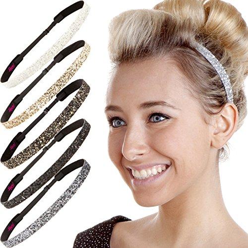Hipsy Damen Adjustable Kein Beleg nette Art und Weise Stirnbänder Bling Glitter Haarreif Packs (Neutral dünne Bling Glitter 6pk)