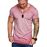 T Shirt Manche Courte Sport Musculation Hommes Été Tattoo Mode Coton Col en V Grande Taile Décontractée Svelte Top Blouse Pas Cher Swag...