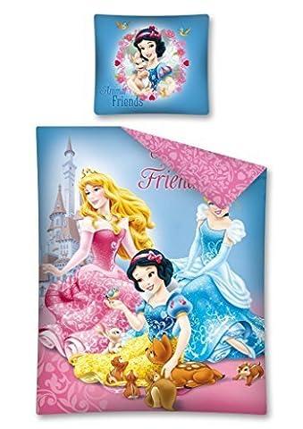Parure de lit Princesse Disney Blanche Neige Cendrillon Disney - Housse de couette lit 1 personne
