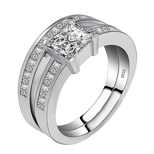 Amstt Herren Damen-Ring Verlobungsring Silber 925 Swarovski Zirkonia 18.1(57mm)