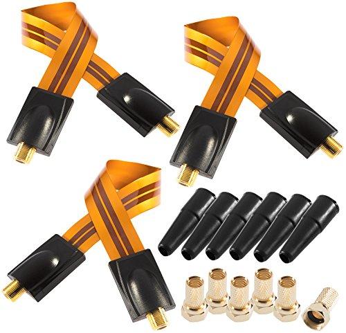 Poppstar 3x 28cm SAT Fensterdurchführung (Koax Kabel sehr flach 0,2mm), 6x F-Stecker, 6x Gummitülle, für Fenster und Türen, vergoldete Kontakte, orange