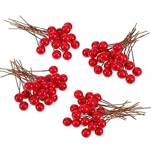 Künstliche Holly Beeren, 100 Stück Mini 10 mm Fake Beeren Dekor auf Draht für Weihnachtsbaum Dekorationen Blumen Kranz DIY Handwerk Gebrauch (Rot)