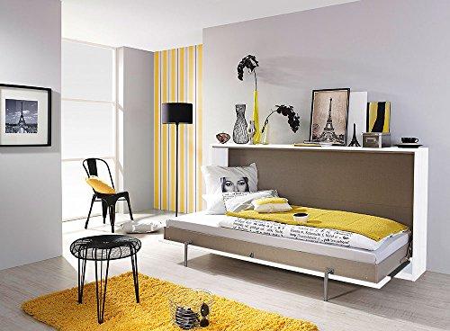 Schrankbett mit 90×200 Liegefläche in Weiß, Funktionsbett ist vertikal ausziehbar, Bett ist die perfekte Lösung für gesunden Schlaf in kleinen Räumen - 5