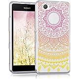 kwmobile Funda para Sony Xperia Z1 Compact - Case para móvil en TPU silicona - Cover trasero Diseño sol indio en amarillo rosa fucsia transparente
