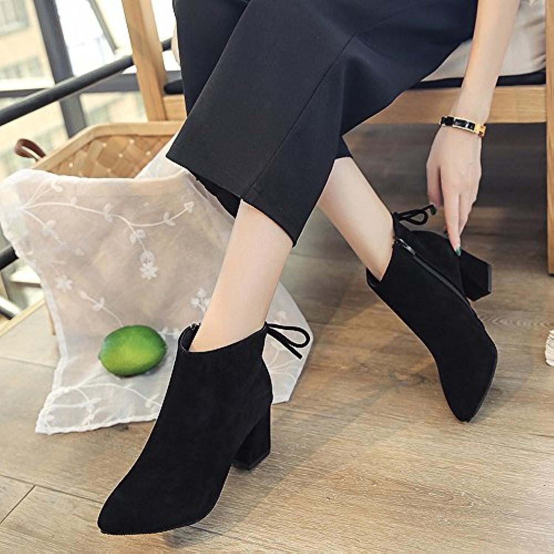 DIDIDD Botas de Tacón Alto con Botas de Cuero de Gamuza Gruesa, Zapatos Europeos Y Americanos, do,35