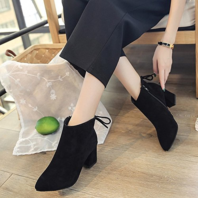 DHG Botas de Tacón Alto con Botas de Cuero de Gamuza Gruesa, Zapatos Europeos Y Americanos, do,38