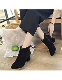 CXY Botas de Tacón Alto con Botas de Cuero de Gamuza Gruesa, Zapatos Europeos Y Americanos, do,39