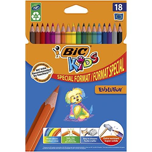 BIC Kids Ecolutions Evolution - Blíster de 14 + 4 lápices de colorear, multicolor