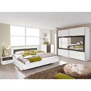 Rauch Packs Ensemble de chambre à coucher Venlo (4 éléments) - Blanc alpin / Imitation wengé Shiraz Éléments décoratifs : imitation 160 x 200 cm Largeur d'armoire 271