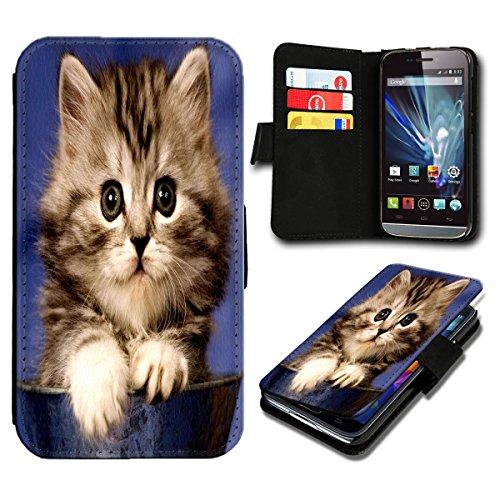 Book Style Wiko Fizz Premium PU-Leder Tasche Flip Brieftasche Handy Hülle mit Kartenfächer für Wiko Fizz - Design Flip SB479