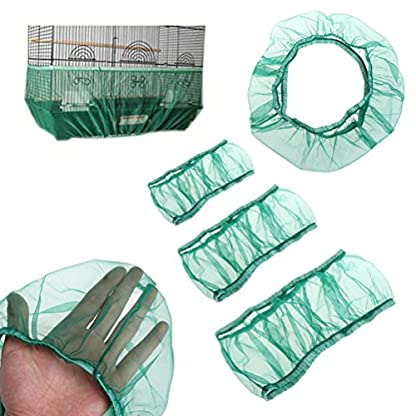 UEETEK Bird Cage Skirt Mesh Bird Cage Seed Catcher Guard Net Cover Green Size S 2