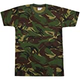 Kids Camo Kombat Printed Cotton T-Shirt Army Forces Military DPM Woodland