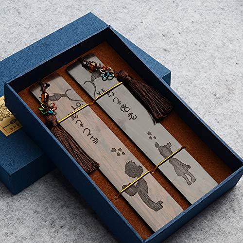 Set di segnalibri in legno naturale stile vintage etnico Regali 2 pezzi, B