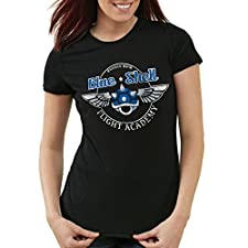 style3 Blue Shell - Flight Academy Damen T-Shirt, Farbe:Schwarz;Größe:S