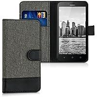 kwmobile Funda para Huawei Y625 - Wallet Case plegable de cuero sintético - Cover con tapa tarjetero y soporte en gris negro