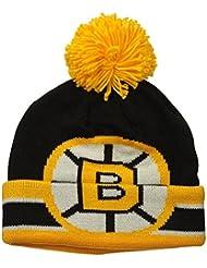 """Boston Bruins CCM NHL """"Split Logo"""" Cuffed Knit Hat Chapeau with Pom"""