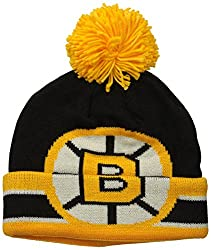 NHL Boston Bruins Mens CCM Cuffed Pom Knit Cap, One Size, Black