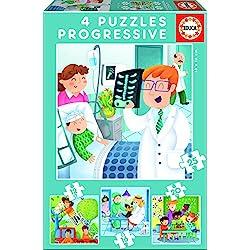 Educa Borrás - De mayor quiero ser, set de 4 puzzles progresivos de 12, 16, 20 y 25 piezas (17146)
