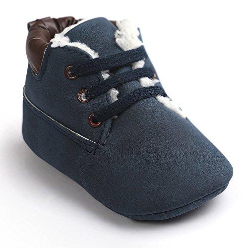 OverDose Unisex-Baby weiche warme Sohle Leder / Baumwolle Schuhe Infant Jungen-Mädchen-Kleinkind Schuhe 0-6 Monate 6-12 Monate 12-18 Monate A-Dunkelblau-PU Leater