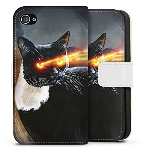 Apple iPhone X Silikon Hülle Case Schutzhülle Katze Laser Auge Sideflip Tasche weiß