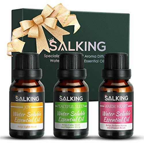 SALKING Ätherische Öle Set, Natürlich Aroma Öle(Freude, Warmes Herz, Friedlicher Schlaf) Wasserlösliches ätherisches Öl für Diffusor, Luftbefeuchter, Massage, Aromatherapie, Haut-und Haarpflege