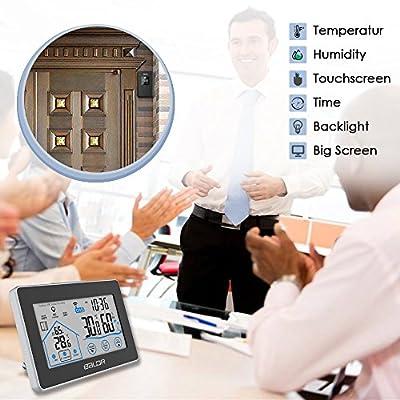 TAOPE Temperature Humidity Thermometer,Big Display Wireless Digital Weather Station Sensor Indoor/Outdoor Temperature,Humidity,Time