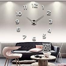 AilierR DIY Wanduhren Moderne Silber Gross XXL 3D Wohnzimmer Weiss Acryl Spiegel Wall Clock Mirror