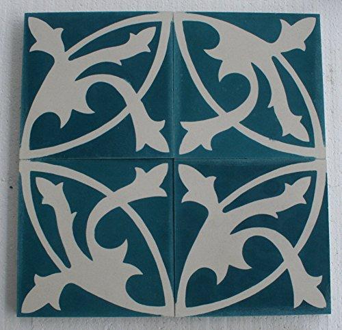 4 Zementfliesen Mondial blau petrol - Handarbeit - Jugendstil Vintage Fliesen für Altbau Neubau