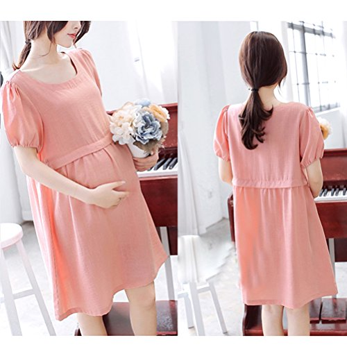 Zhhlinyuan Pregnant Women Fashion Dress Maternité Casual Loose Short Sleeves Outdoor Nursing Dresses blue