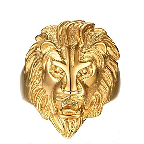 Men's Ring Stainless Steel Gothic Lion Figure Retro Ring for Men Size 25 by Aienid
