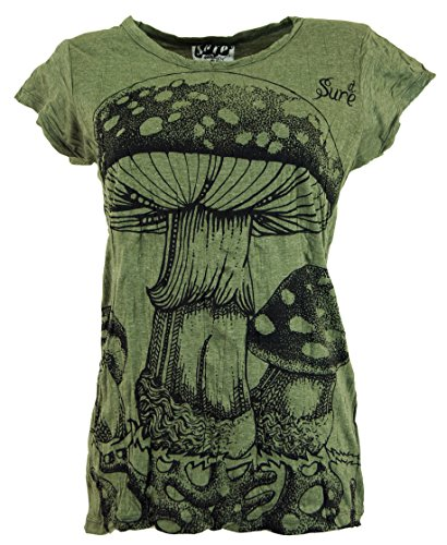 Guru-Shop Sure T-Shirt Fliegenpilz, Damen, Olive, Baumwolle, Size:L (40), Bedrucktes Shirt Alternative Bekleidung