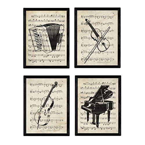 Set von 4 Poster Instrumente mit Noten. Klavier, Geige, Cello, Akkordeon. A4-Format. ungerahmt