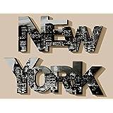 Schriftzug NEW YORK Wanddeko Wandtattoo Holz Druck Bild Wandbild 2 er Set