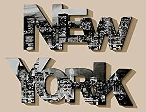 2er set wandbild new york schriftzug wandobjekt. Black Bedroom Furniture Sets. Home Design Ideas